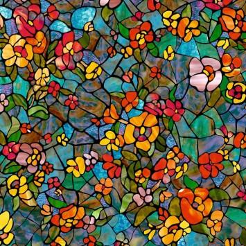 Autocolant d-c-fix vitraliu Flori Multicolore Gradina Venetiana 45cmx15m cod 200-3006