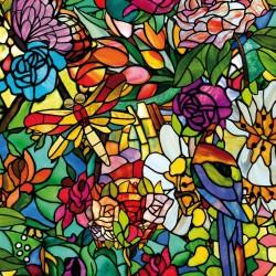 Autocolant d-c-fix vitraliu Semitransparent Flori Multicolore Tulia 45cmx15m cod 200-3231