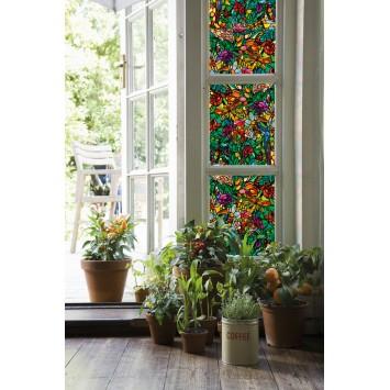 Autocolant d-c-fix vitraliu Flori Multicolore Tulia 45cmx15m cod 200-3231