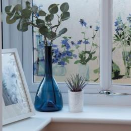 Autocolant d-c-fix Vitraliu Transparet Static (fara adeziv) Premium  Flori Albastre  Neele 45cmx1.5m cod 334-0040