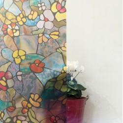 Autocolant d-c-fix vitraliu Semitransparent Flori Multicolore Gradina Venetiana 45cmx2m cod 346-0431