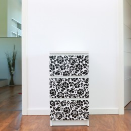 Autocolant d-c-fix Barock flori negre pe fond alb 45cmx2m cod 346-0497