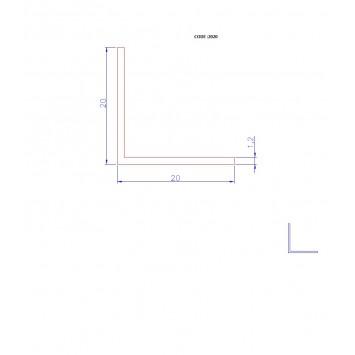 Coltar protectie trepte argintiu (silver) 2020 (20x20mm) x300cm- 5 buc cod 42003