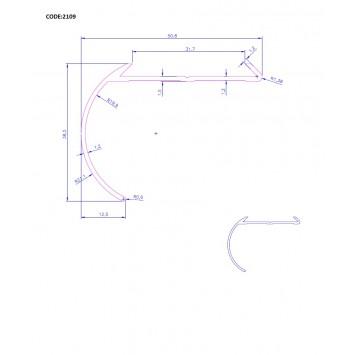 Profil pentru treapta curbat bronz 2109 (38x50.85mm)x300cm  cod 42174