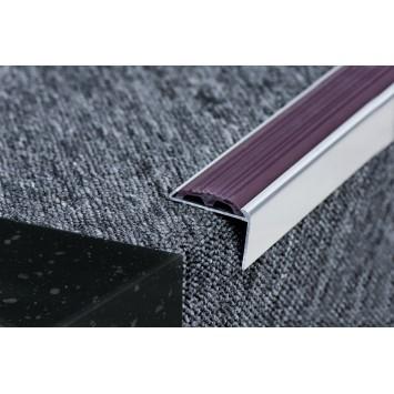 Profil aluminiu coltar treapta cu cauciuc antiderapant argintiu  (silver) 2120 (30x42mm)x100cm- 5 buc  cod 42011