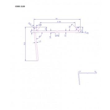 Profil cu cauciuc antiderapant argintiu  (silver) 2120 (30x42mm)x100cm- 10 buc  cod 42011