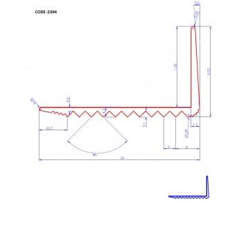 Profil cu rizuri pentru trepte argintiu (silver) 2394 (22.5x40mm) x300cm- 5 buc. cod 42015