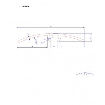 Trecere cu diferenta de nivel Pin cod 3104 (latime 41mmx90cm)- 10 buc cod 42182