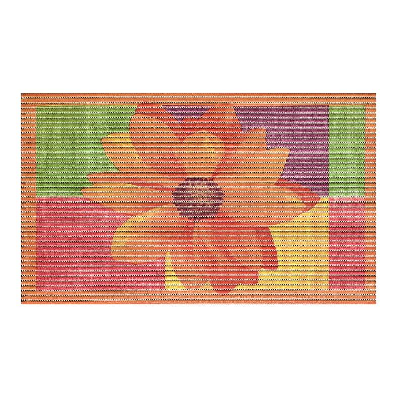 Covoras baie Friedola 3D Flower Pink antiderapant portocaliu din spuma PVC 80x48cm cod 77701