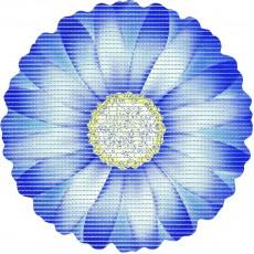 Covoras baie Friedola Daisy  antiderapant albastru in forma de floare (shape) din spuma PVC 67cm diametru cod 77723.5