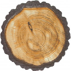 Covoras baie Friedola Log antiderapant bej in forma de butuc de lemn (shape) din spuma PVC 67cm diametru 77725.9