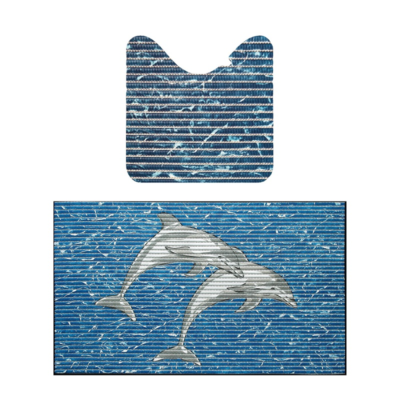 Set baie Friedola Delfini antiderapant albastru din spuma PVC 2 covorase 80x48cm+48x80cm cod 79640.3