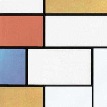 Autocolant Gekkofix Mondriaan vitraliu cu dreptunghiuri colorate 45cmx15m cod 10277