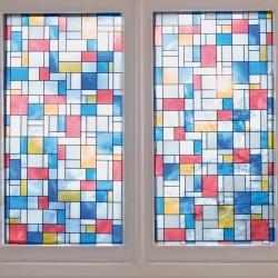 Autocolant Gekkofix vitraliu Semitransparentr Mondriaan cu dreptunghiuri colorate 45cmx15m cod 10277