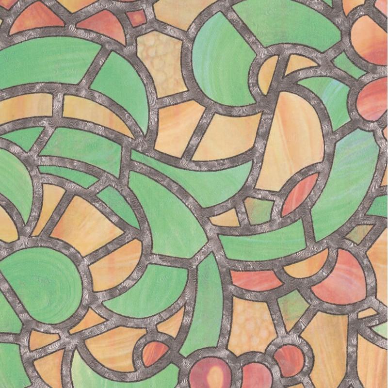 Autocolant Gekkofix vitraliu Semitransparent Reims verde cu galben 90cmx15m cod 10426