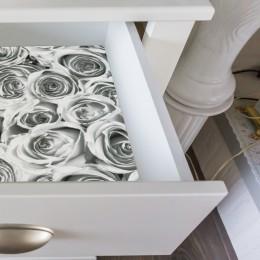 Autocolant Gekkofix Roses White Grey  45cmx15m cod 12856