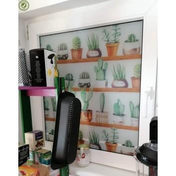 Autocolant Gekkofix vitraliu Semitransparent static (fara adeziv) cactusi 67.5 cm x 1.5 m cod 14149