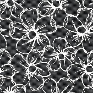 Fata de masa Davo Pro musama neagra cu flori albe Carbonio Bianco 120cmx160cm cod 40009