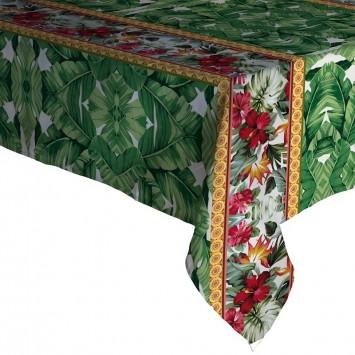 Fata de masa musama100% din compus moale PVC Gemitex Plus Verde cu Rosu - 140X180 cm - P222 - Cod 40046