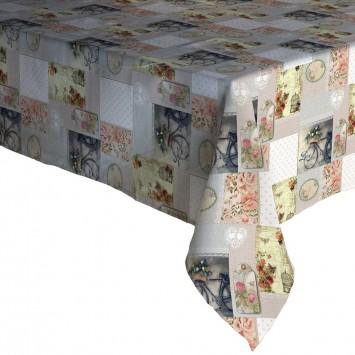 Fata de masa musama 100% din compus moale PVC Gemitex Plus Gri cu Roz 140X180 cm - P208 - Cod 40047