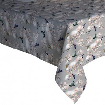 Fata de masa  musama 100% din compus moale PVC Gemitex Promo Gri cu Pasari si Flori 120X160 cm - 298 - Cod 40048