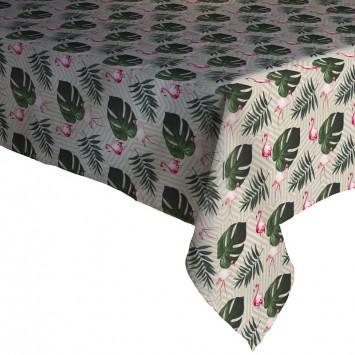 Fata de masa musama 100% din compus moale PVC Gemitex Promo Gri cu Flamingo si Frunze 120X160 cm - 297 - Cod 40049