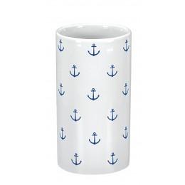Suport pentru periute de dinti Kleine Wolke gama Anchor din ceramica alb cu model ancora bleumarin
