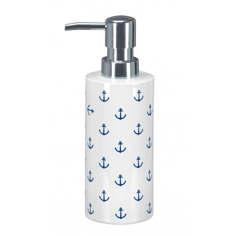 Dozator sapun lichid Kleine Wolke gama Anchor din ceramica alb cu model ancora bleumarin