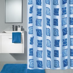 Perdea de dus Kleine Wolke albastra Viata Marina, din plastic ecologic, 180x200 cm, cod 34262