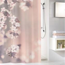 Perdea de dus Kleine Wolke roz cu flori de cires Blossom, 100% poliester de inalta calitate cu aspect textil, 180x200 cm, cod 34293