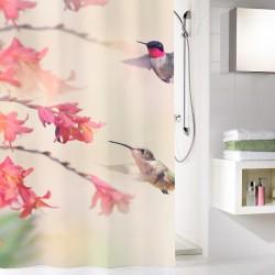 Perdea de dus Kleine Wolke multicolora pasari Kolibri, 100% poliester de inalta calitate cu aspect textil, 180x200 cm, cod 34296