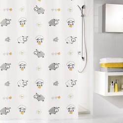 Perdea de dus Kleine Wolke multicolora cu oi Sheep, 100% poliester de inalta calitate cu aspect textil, 180x200 cm, cod 34298