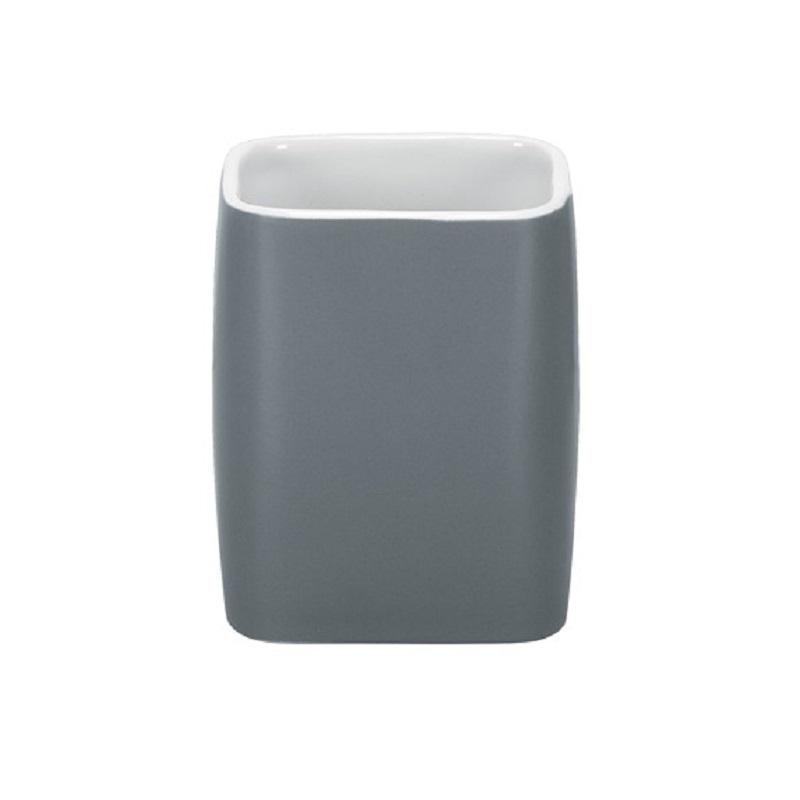 Suport pentru periuta de dinti Kleine Wolke Cubic Gri Antracit ceramica 2.9x11.1cm cod 34069