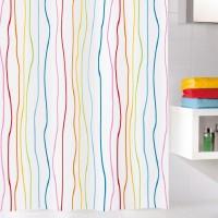 Perdea de dus  Kleine Wollke cu linii multicolore Jolie 100% poliester de inalta calitate cu aspect textil 180x200cm cod 34257
