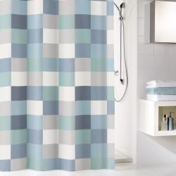 Perdea de dus Kleine Wollke cu patrate gri albastrui Check 100% poliester de inalta calitate cu aspect textil  cod 34282