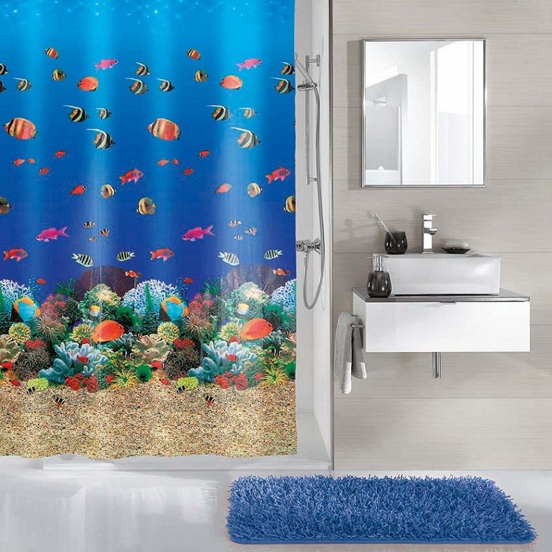 Perdea de dus  Kleine Wolke albastra cu pesti exotici si corali Malediven din plastic ecologic 180x200cm cod 34286
