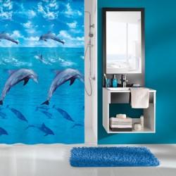 Perdea de dus  Kleine Wolke albastra cu delfini Dophin din plastic ecologic 180x200cm cod 34287