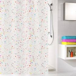 Perdea de dus  Kleine Wolke alba cu puncte multicolore Confetti din plastic ecologic 180x200cm cod 34288