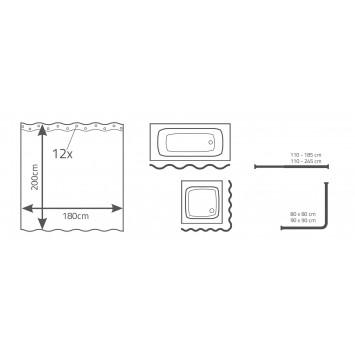 Perdea de dus Ridder din  material plastic semitransparent  3D 180cmx200cm cod 38156