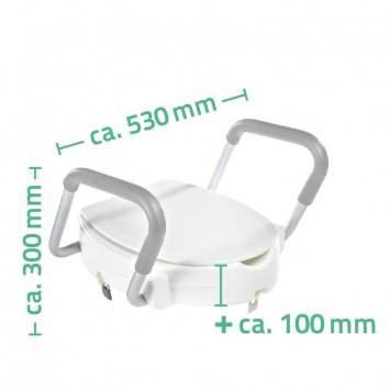 Capac WC inaltator cu manere de sprijin  Ridder pentru seniori,  suporta  maxim 150 kg  cod 38130