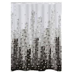 Perdea de dus Ridder  din  material textil alb cu negru si gri 180cmx200cm  Skyline  cod 38122 (47367)