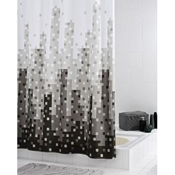 Perdea de dus Ridder  din  material textil alb cu negru si gri 180cmx200cm  Skyline  cod 38122