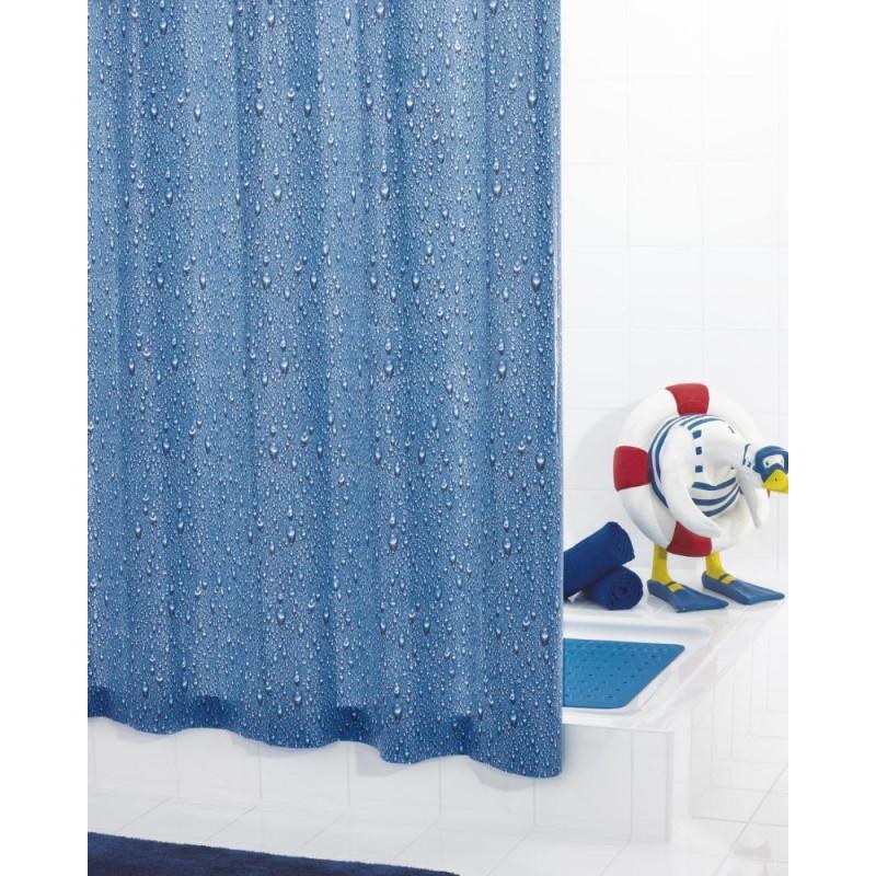 Perdea de dus  Ridder  albastra cu picaturi din plastic ecologic Drops (inele incorporate) 180cmx200cm cod 38124