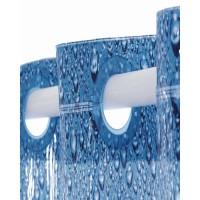 Perdea de dus  Ridder  albastra cu picaturi din material plastic ecologic Drops)  cu inele incorporate 180cmx200cm cod 38124 (nu necesita inele separat)