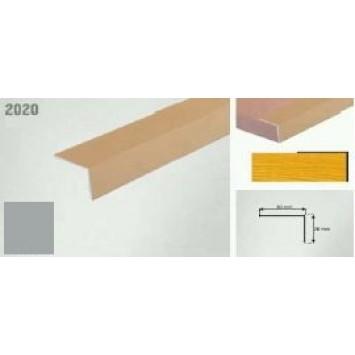 Coltar protectie trepte argintiu (silver)  2020 (20 x 20 mm) x100cm- 10 buc cod 42005