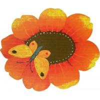 Covoras baie Friedola Flora antiderapant portocaliu in forma de floare (shape)  din spuma PVC 67cm diametru cod 77700.6