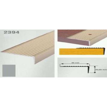 Profil cu rizuri pentru trepte argintiu (silver) 2394 (22.5x40 mm) x100cm- 10 buc cod  42018