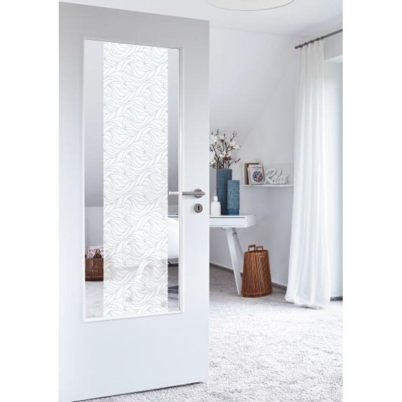 Autocolant d-c-fix static alb opac cu frunze transparente 45cm x 15m cod 218-0022