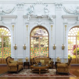 Autocolant d-c-fix vitraliu Flori beige 45cmx15m cod 200-2795