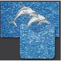 Set baie Friedola Delfini antiderapant albastru din spuma PVC 2 covorase 80x48cm+48x80 cm cod 79640.3